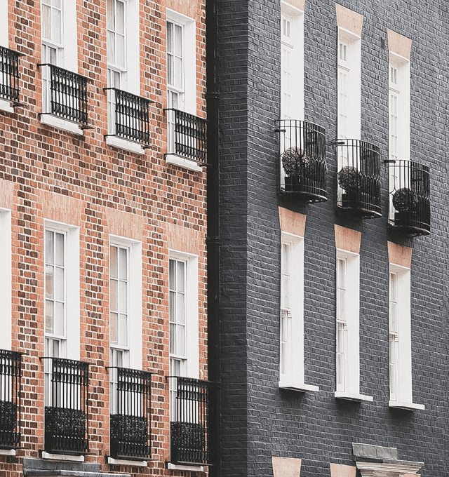 Townhouses on half moon street in London